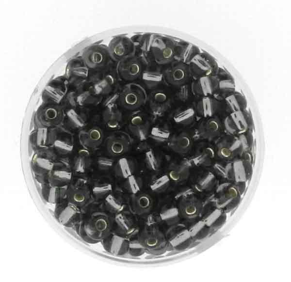Rocailles, silbereinzug, 4,5mm, 17gr. Dose, grau