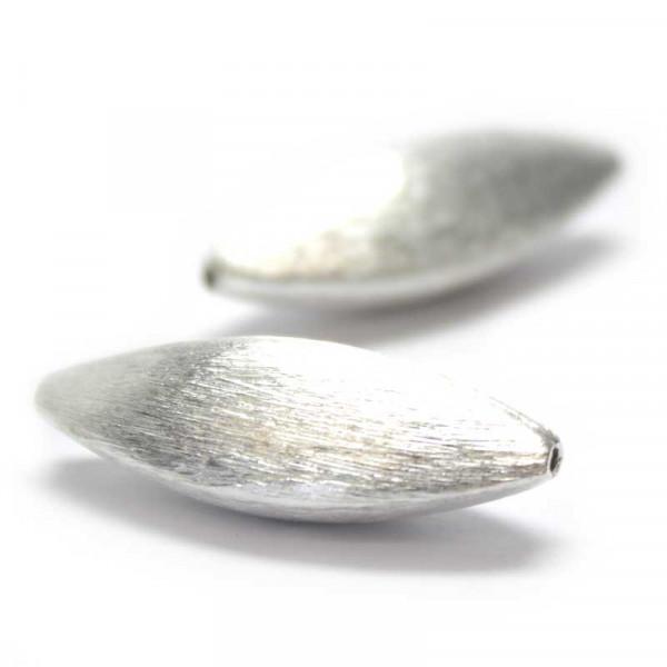 Wisilva Perlen, Facett-Oliven, versilbert, gebürstet, 29 mm, 2 S