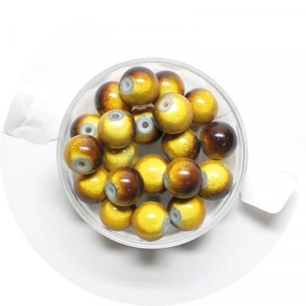 Miracle-Beads Glasperlen, 20 Stck., 8mm, gelb-braun