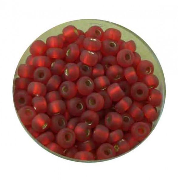 Rocailles, silbereinzug matt, 4,5mm, 17gr. Dose, rot