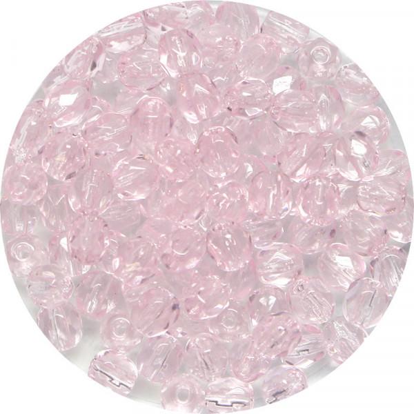 Glasschliffperlen feuerpoliert, 4 mm, transp. light rose