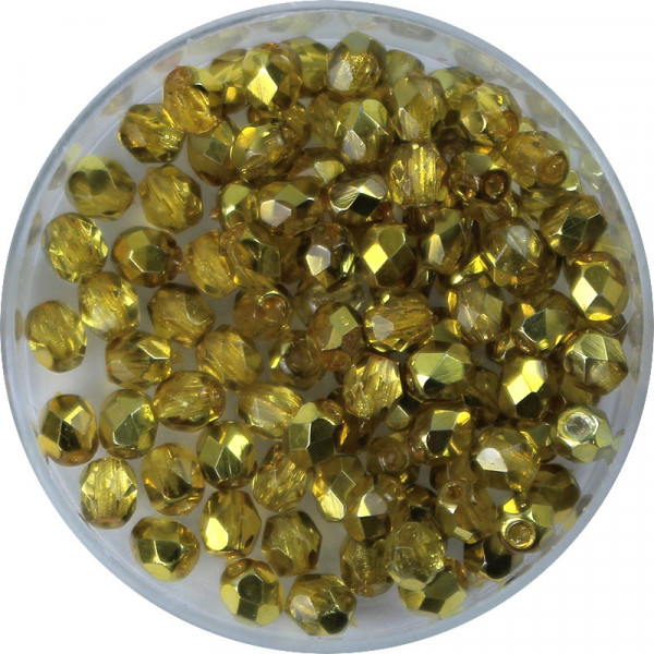 Glasschliffperlen, feuerpoliert, 4 mm, halb bedampft jonquil