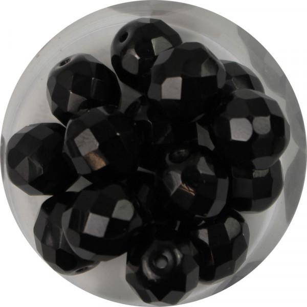 Glasschliffperlen, feuerpoliert, 10 mm, satt schwarz