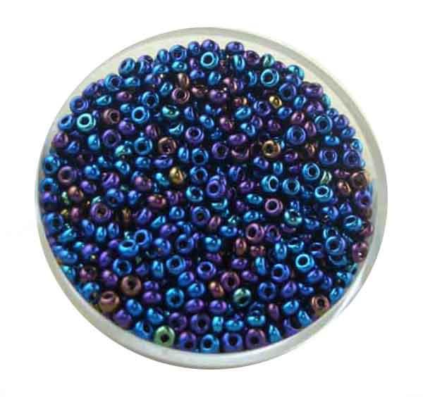 Rocailles, Scarabe, 2,3 mm, 17gr. Dose, regenboben