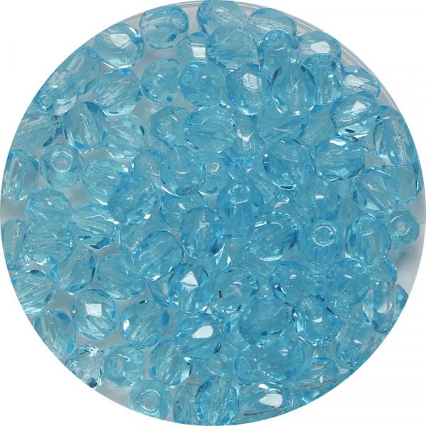 Glasschliffperlen, feuerpoliert, 4 mm, transp. aqua