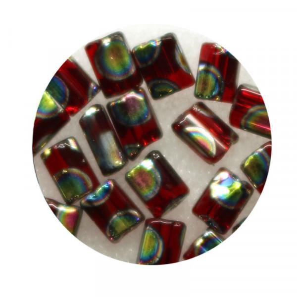 Glasperle, Rechteck, 5 mm, 7gr. Dose, rot