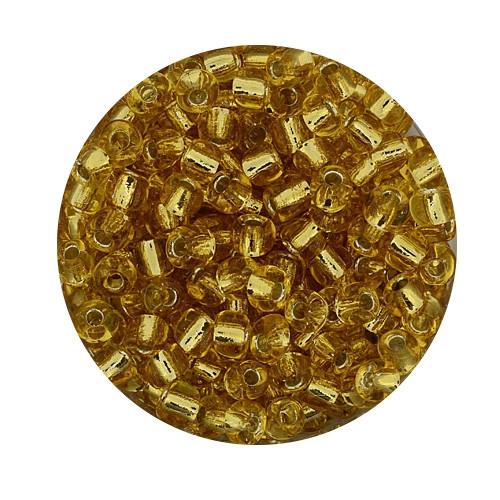 Rocailles aus China, 17gr. Dose, 4mm, topas silbereinzug