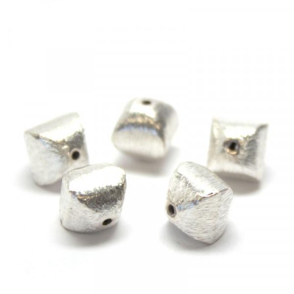 Wisilva Perlen, Kissen, versilbert, gebürstet, 8 mm, 5 Stück