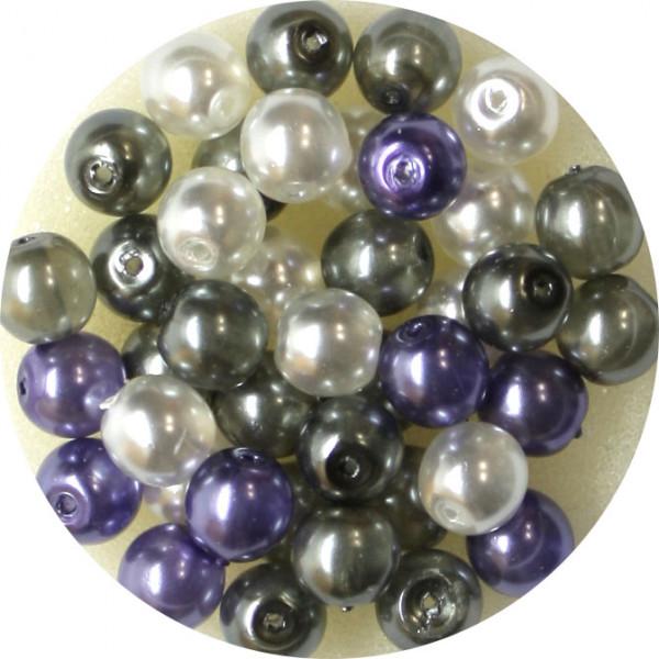 Crystal Pearl Renaissance, 6mm, 40 Stück, weiß-grau-violet
