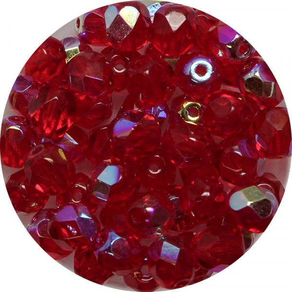 Glasschliffperlen, feuerpoliert, 6 mm, h. bedampft, rubin AB