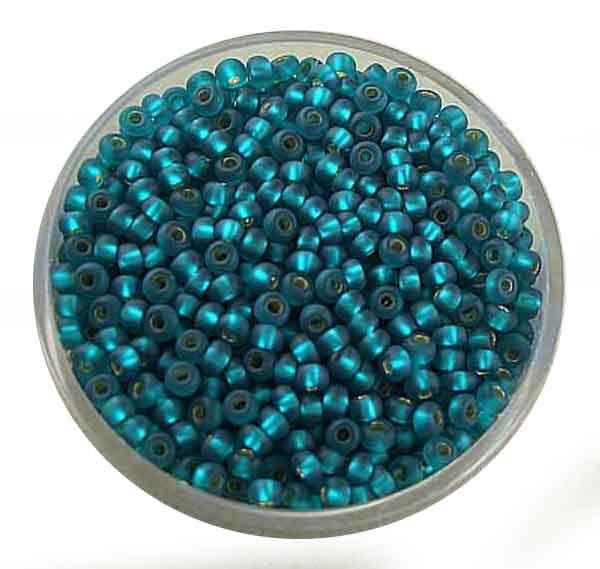 Rocailles, silbereinzug matt, 2,6mm, 17gr. Dose, dkl.grün