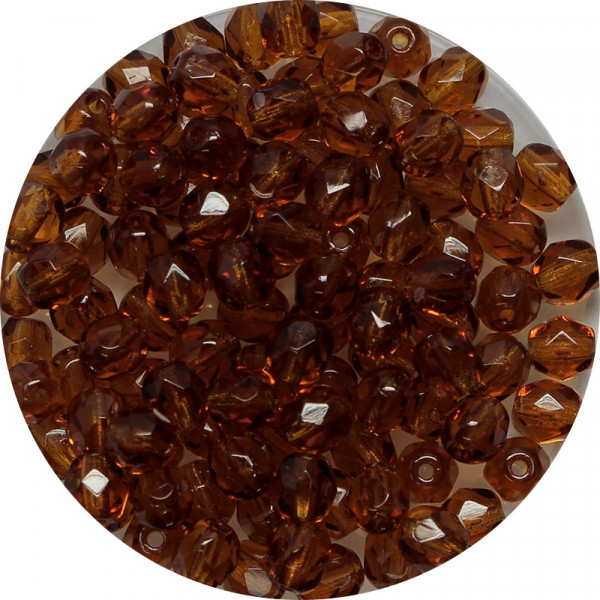 Glasschliffperlen, feuerpoliert, 4 mm, transp. dunkeltopas