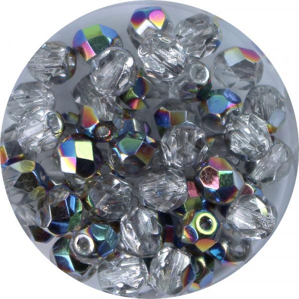 Glasschliffperlen, feuerpoliert, 6 mm, h. bedampft, halb silber