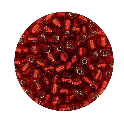 Rocailles aus China, 17gr. Dose, 4mm,rot silbereinzug