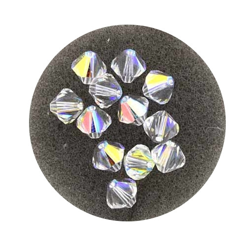 Swarovski Doppelkegel, 6 mm, 12 Stück,crystal AB