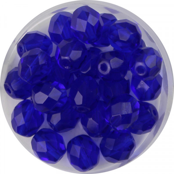 Glasschliffperlen, feuerpoliert, 8 mm, transp. azurblau