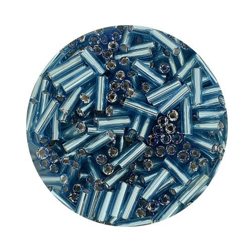 Glasstifte aus China, 17gr. Dose, 6mm, hellblau silbereinzug