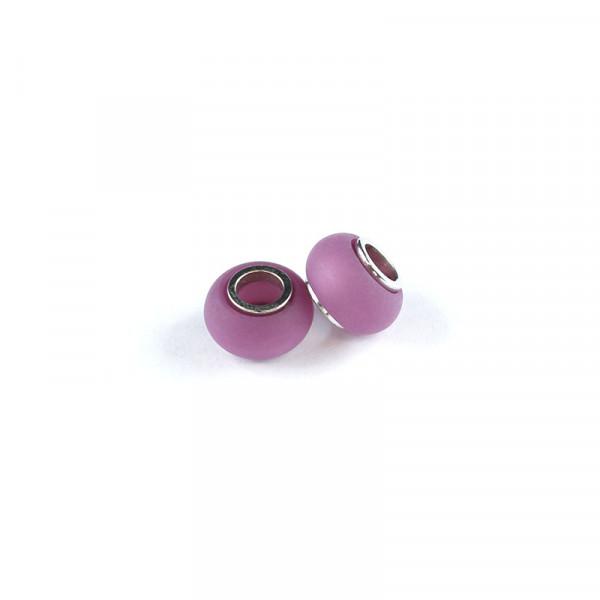 Polaris Großlochperlen matt, 8x12mm, dkl. rosa