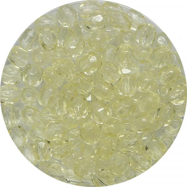 Glasschliffperlen, feuerpoliert, 4 mm, transp. hellgelb
