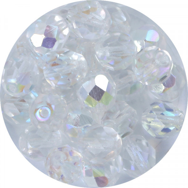 Glasschliffperlen, feuerpoliert, 8 mm, h. bedampft, kristall AB