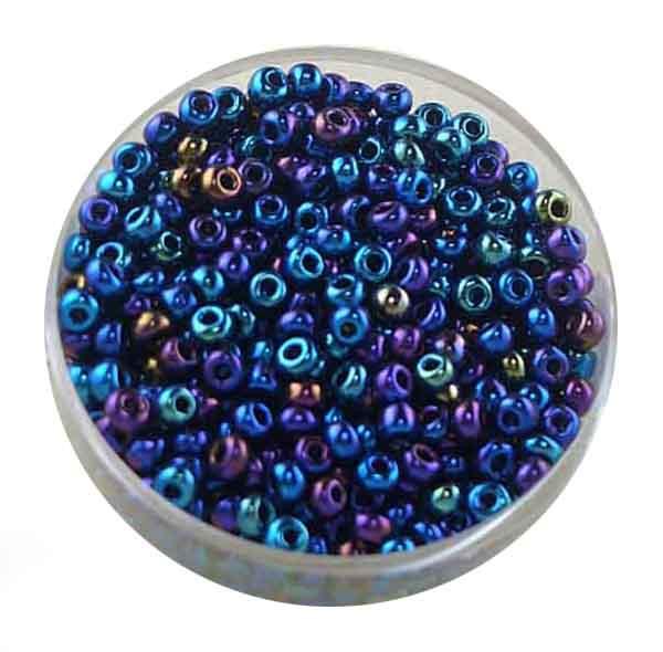 Rocailles, Scarabe, 3,1 mm, 17gr. Dose, regenboben