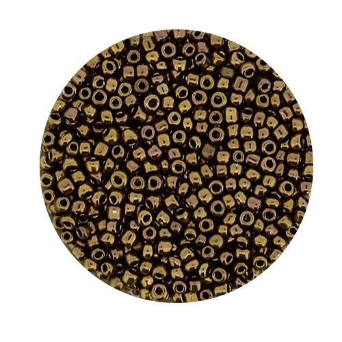 Rocailles aus China, 17gr. Dose, 2,6mm,bronze
