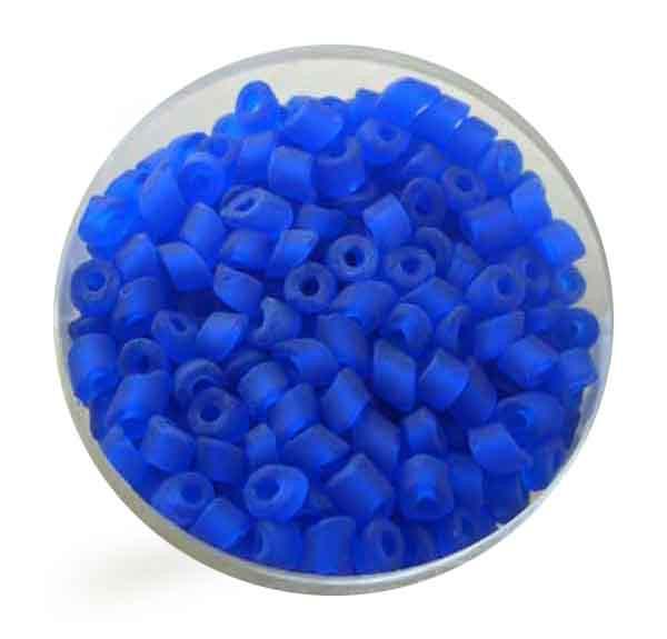Glasperlen Cremette, transparent matt, 4-6 mm, blau