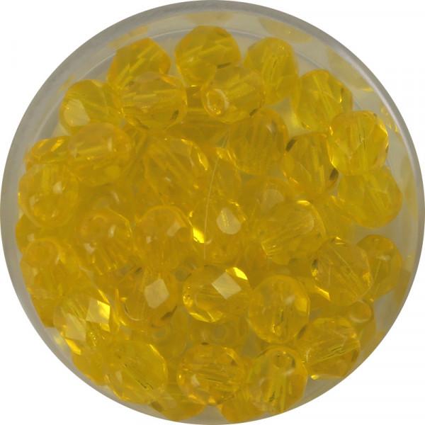 Glasschliffperlen,feuerpoliert, 6 mm, transp. gelb