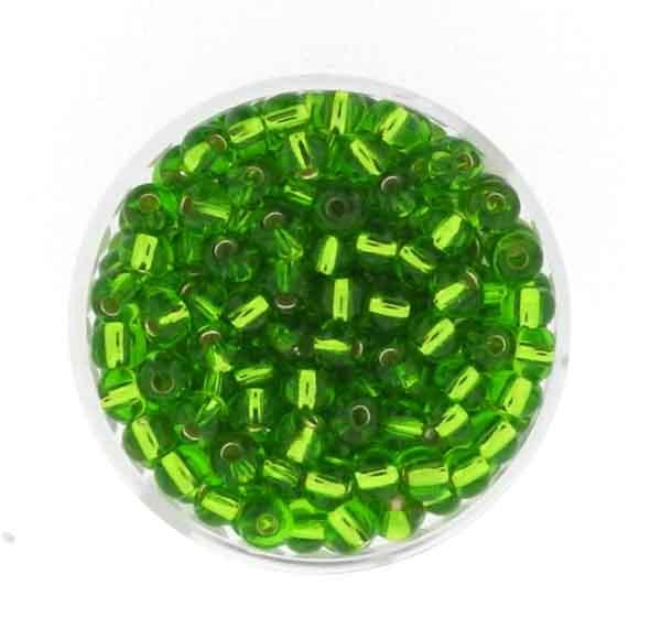 Rocailles, silbereinzug, 4,5mm, 17gr. Dose, lindgrün