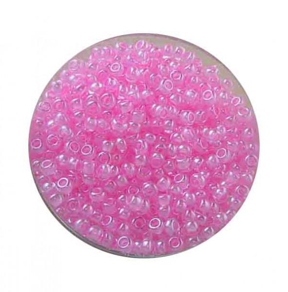 Rocailles, Farbeinzug glänzend, 2,6mm, 17gr. Dose, h.rosa
