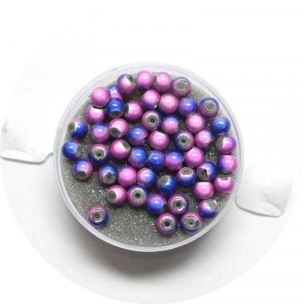 Miracle-Beads Glasperlen, 50 Stck., 4mm, blau-lila
