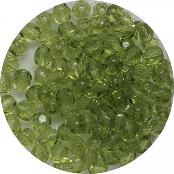 Glasschliffperlen, feuerpoliert, 4 mm, transp. olivin
