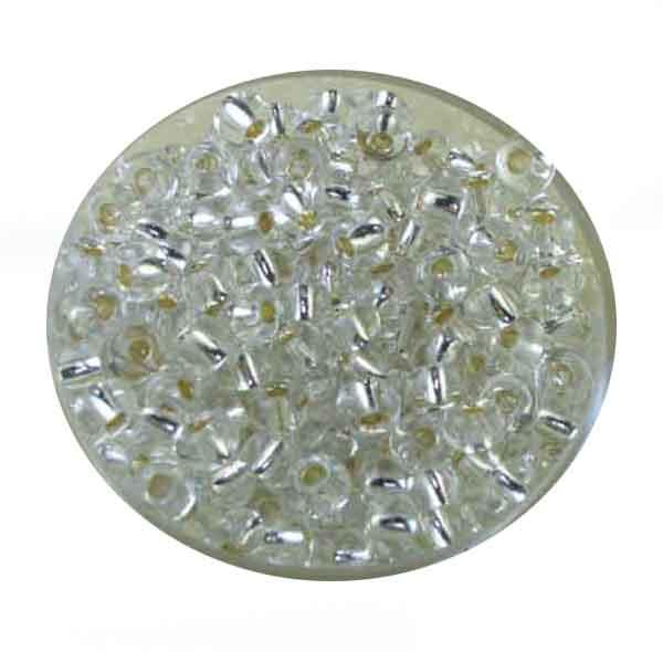 Rocailles, Silbereinzug, 4,0 mm, 17gr. Dose, kristall