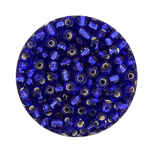 Rocailles aus China, 17gr. Dose, 4mm, dunkelblau silbereinzug