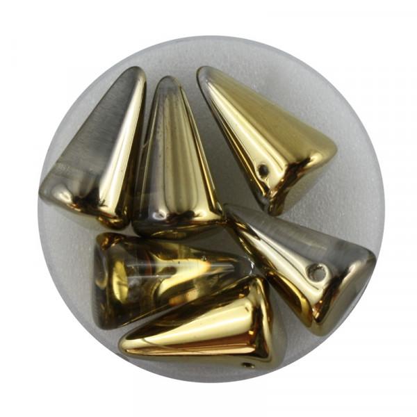 Spike Beads,12x18mm,6 Stück,goldfb. halb bedampft