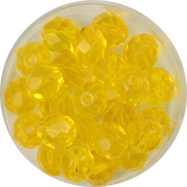 Glasschliffperlen, feuerpoliert, 8 mm, transp. gelb