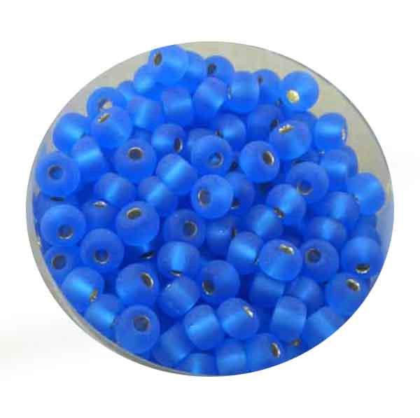 Rocailles, silbereinzug matt, 4,5mm, 17gr. Dose, dkl.blau