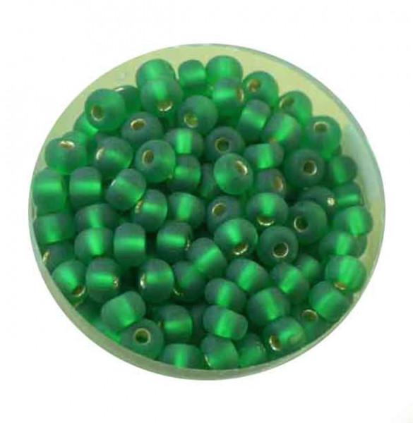Rocailles, silbereinzug matt, 4,5mm, 17gr. Dose, grün