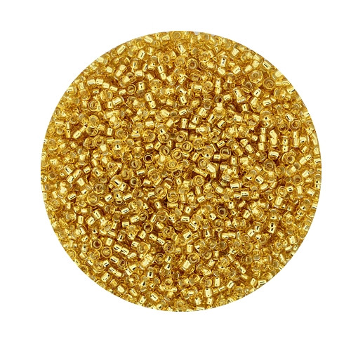 Miyuki-Beads,15/0 (1,5mm),10gr Dose,silverlined gold