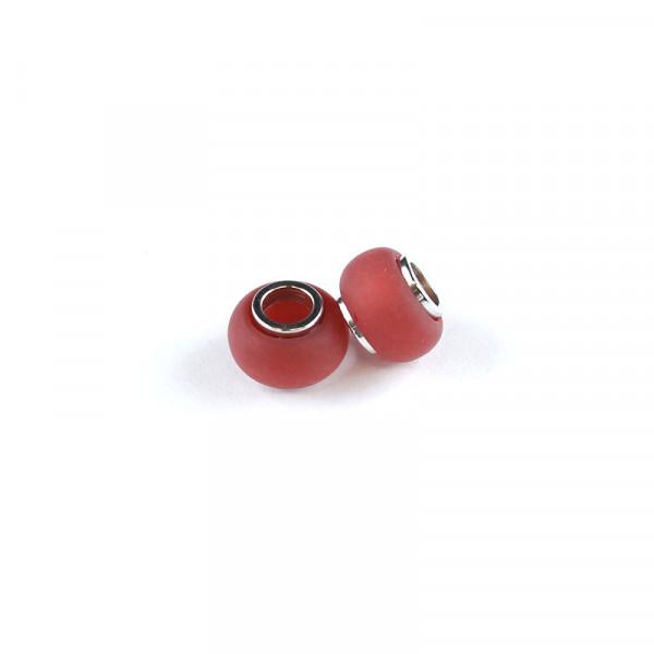 Polaris Großlochperlen matt, 8x12mm, rot