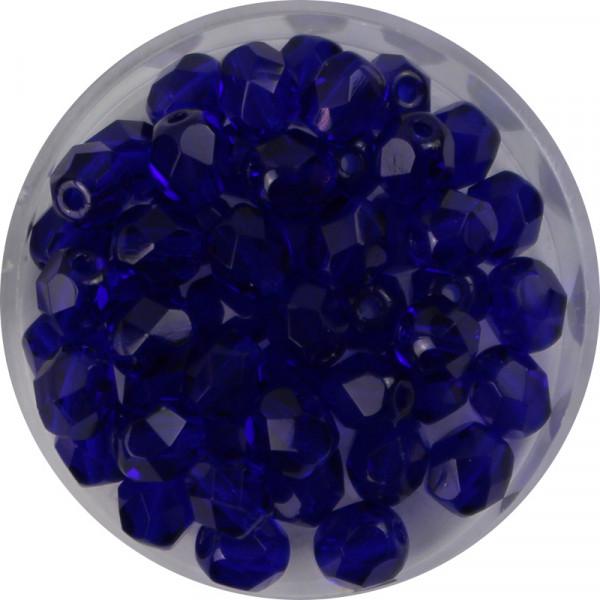 Glasschliffperlen, feuerpoliert, 6 mm, transp. azurblau