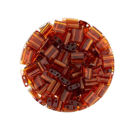 Tila-Beads, 2-loch Viereck, 6gr. Dose, transparent brown