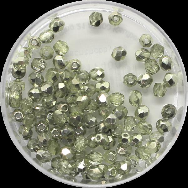 Glasschliffperlen Feuerpoliert, 3 mm, chrysolite