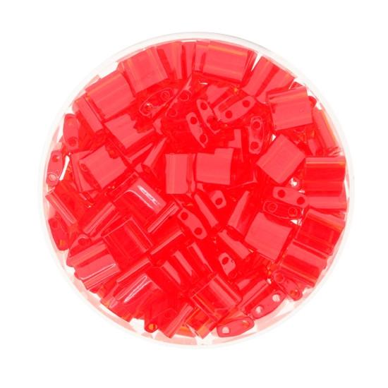 Tila-Beads, 2-loch Viereck, 6gr. Dose, transparent red
