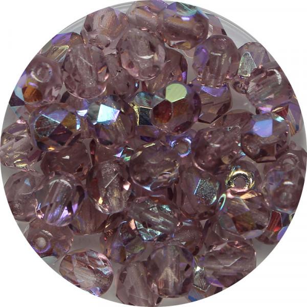 Glasschliffperlen, feuerpoliert, 6 mm, h. bedampft, amethyst AB