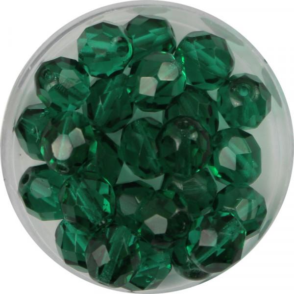 Glasschliffperlen, feuerpoliert, 8 mm, transp. grün