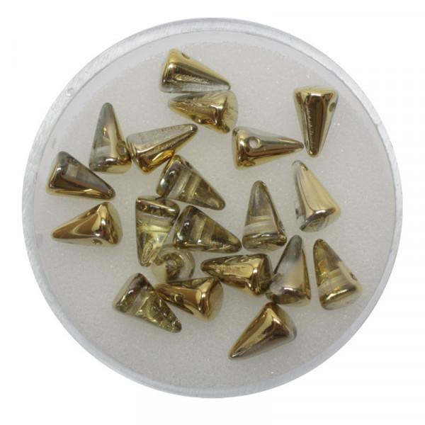 Spike Beads,5x8mm,20 Stück, goldfb. halb bedampft