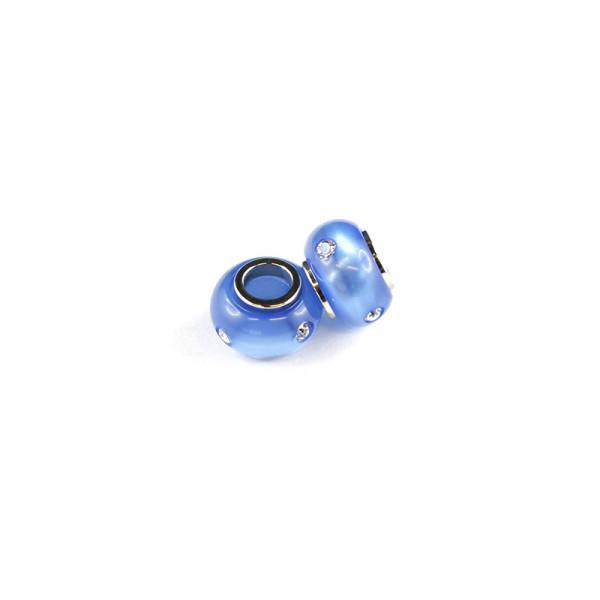 Polaris Großlochperlen Strass glänzend, 8x12mm, safirblau