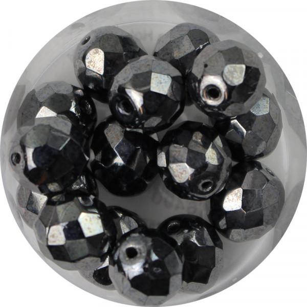 Glasschliffperlen, feuerpoliert, 10 mm, bedampft blutstein