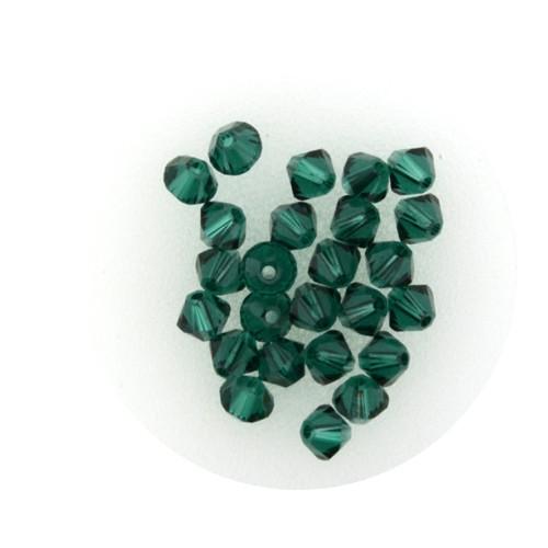 Swarovski Doppelkegel, 4 mm, 25 Stück,emerald